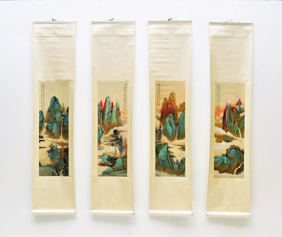 SET OF 4 CHINESE SCROLL PAINTING BRIGHT COLOR