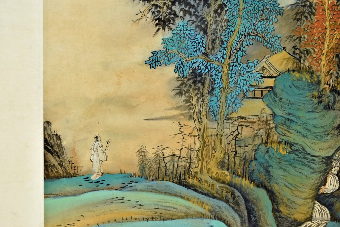 SET OF 4 CHINESE SCROLL PAINTING BRIGHT COLOR - 3