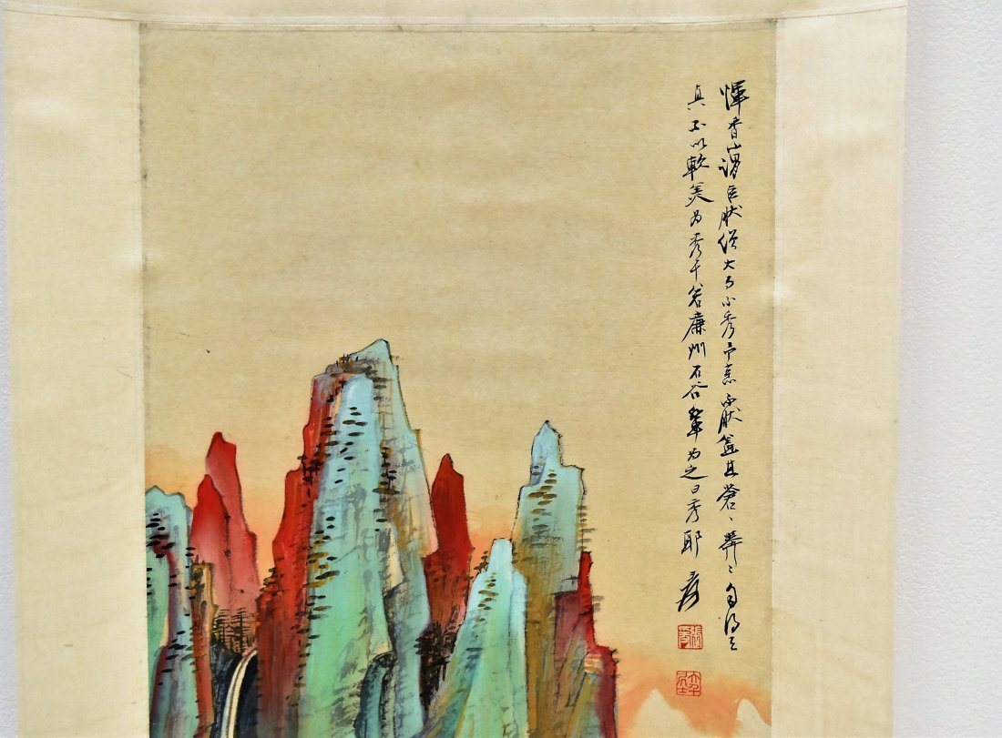 SET OF 4 CHINESE SCROLL PAINTING BRIGHT COLOR - 4