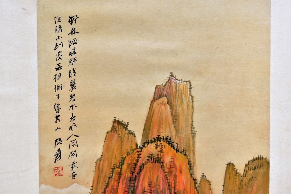 SET OF 4 CHINESE SCROLL PAINTING BRIGHT COLOR - 6