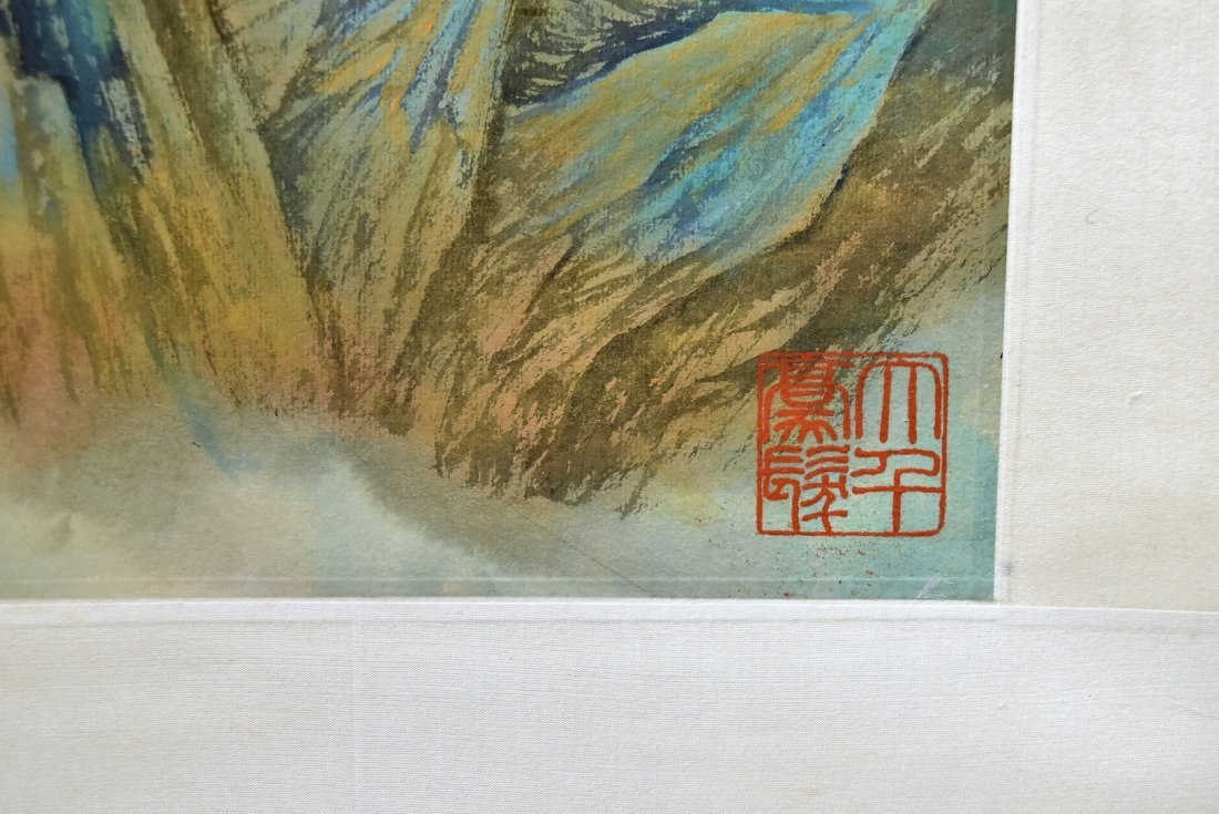 SET OF 4 CHINESE SCROLL PAINTING BRIGHT COLOR - 8