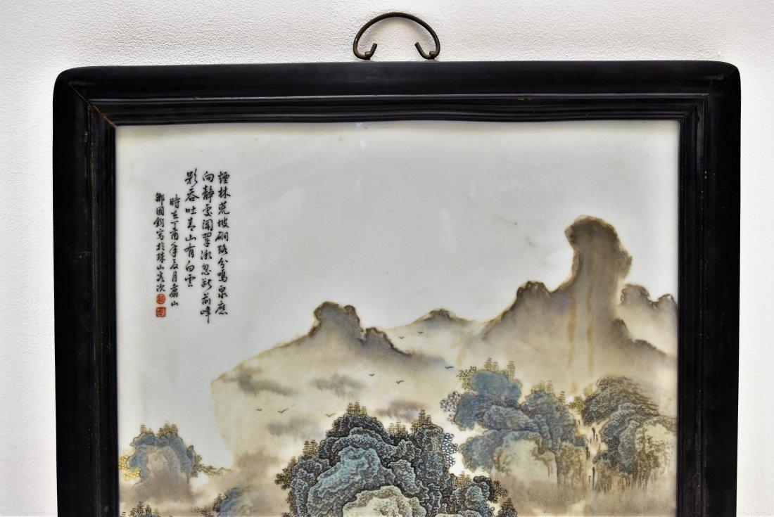 FRAMED CHINESE PORCELAIN PAINTING OF LANDSCAPE SCENE - 2