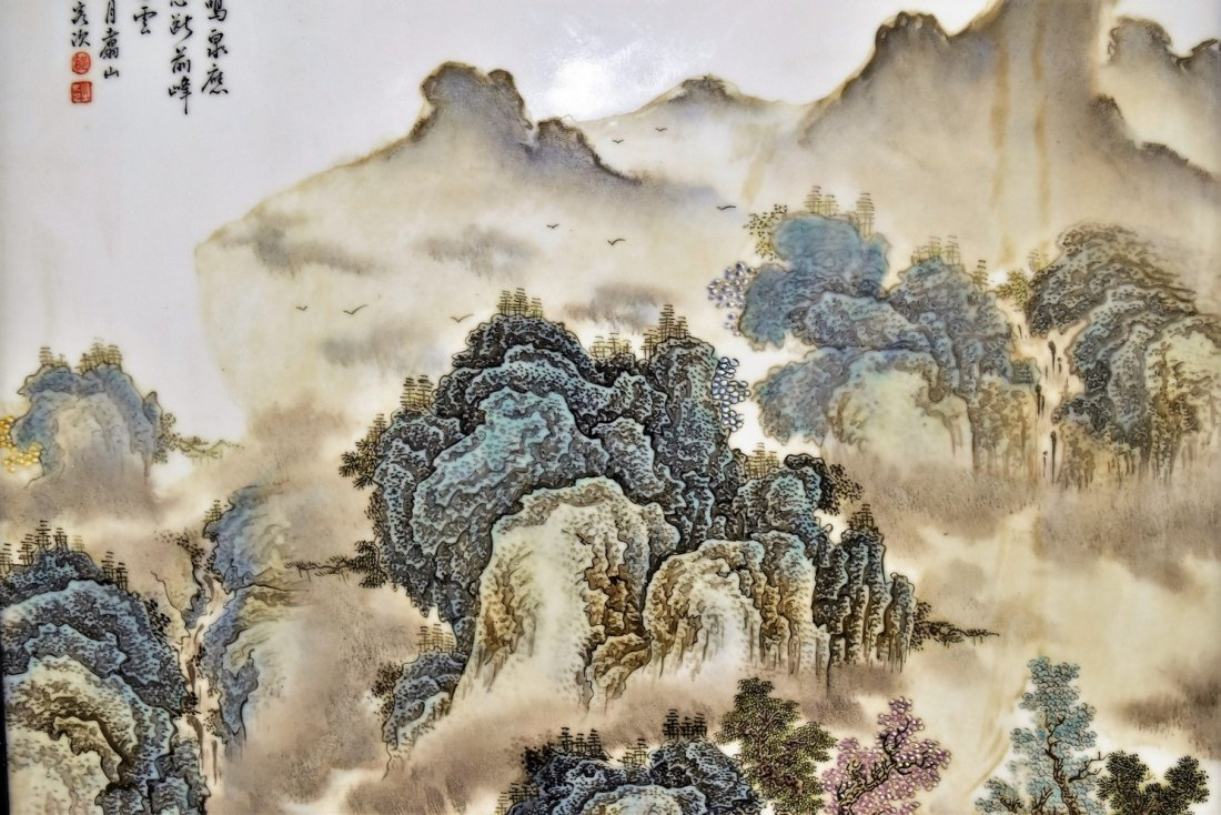 FRAMED CHINESE PORCELAIN PAINTING OF LANDSCAPE SCENE - 4