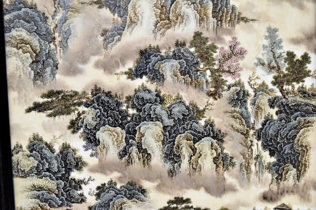 FRAMED CHINESE PORCELAIN PAINTING OF LANDSCAPE SCENE - 5