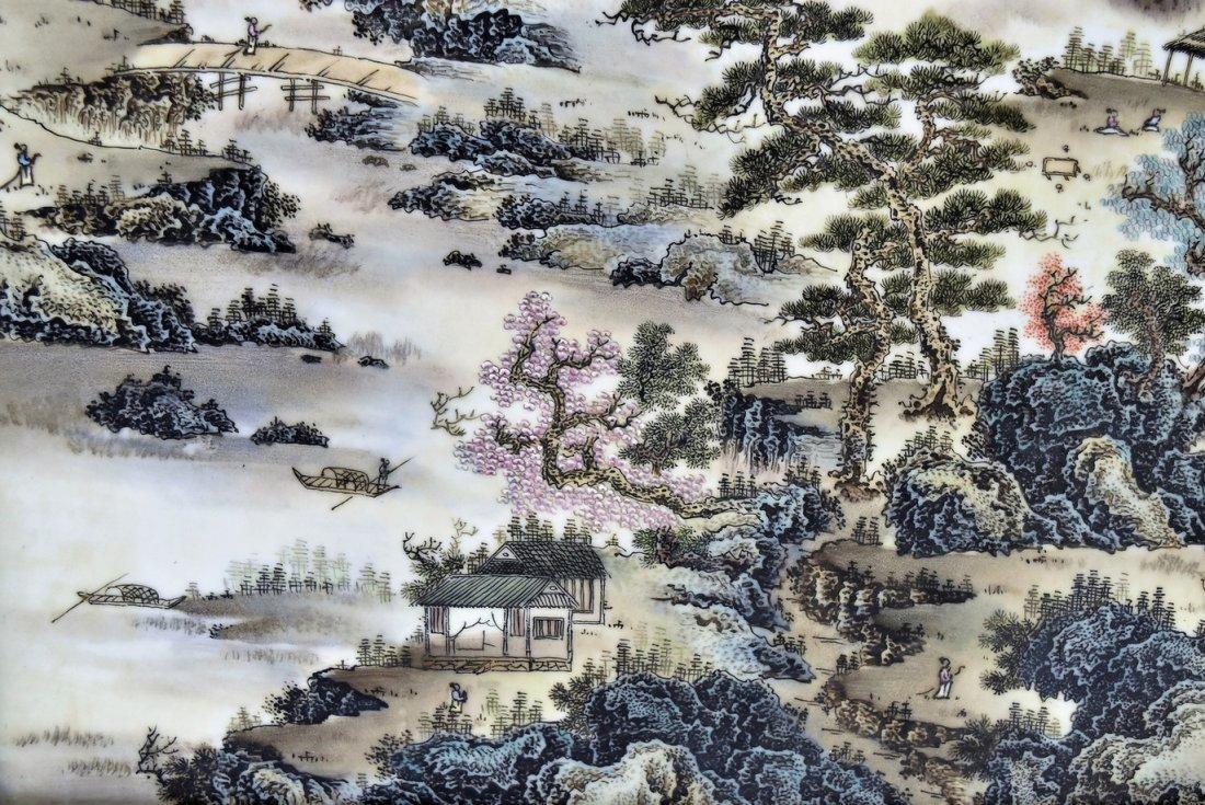 FRAMED CHINESE PORCELAIN PAINTING OF LANDSCAPE SCENE - 6