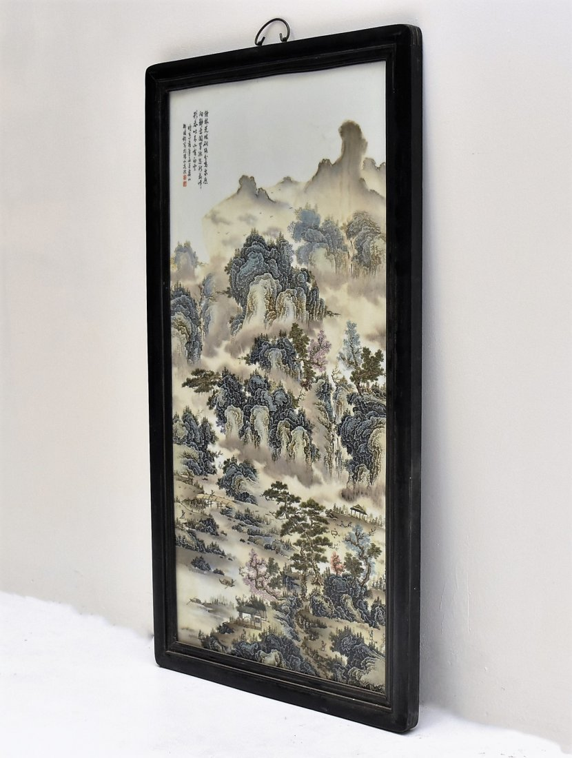 FRAMED CHINESE PORCELAIN PAINTING OF LANDSCAPE SCENE - 8