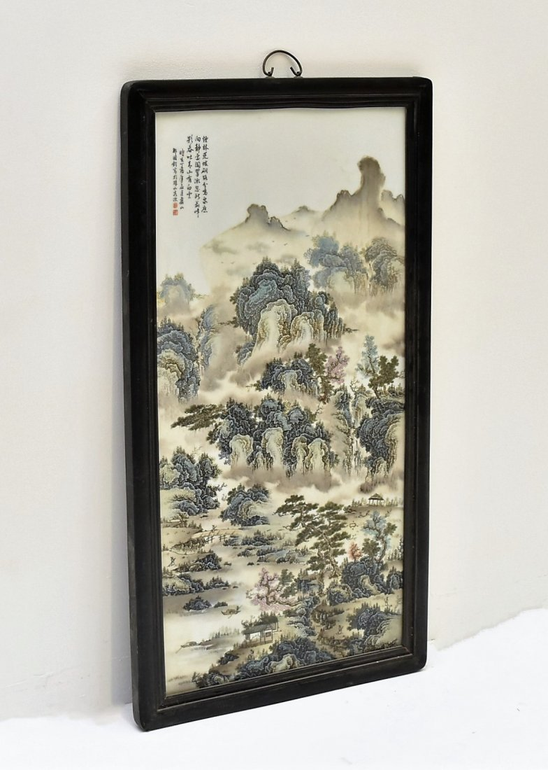 FRAMED CHINESE PORCELAIN PAINTING OF LANDSCAPE SCENE - 9