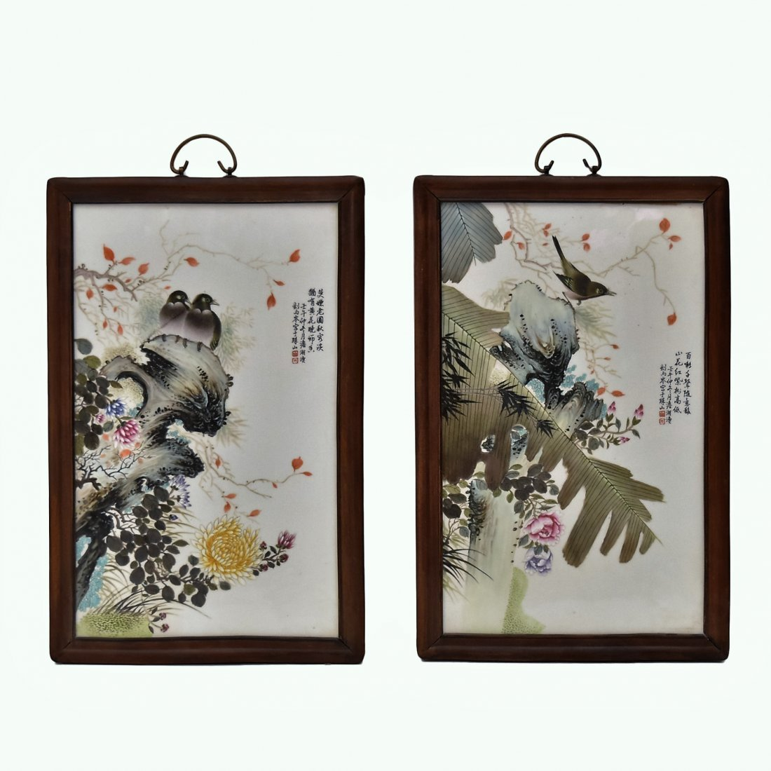 TWO FRAMED CHINESE PORCELAIN PAINTINGS OF BIRDS