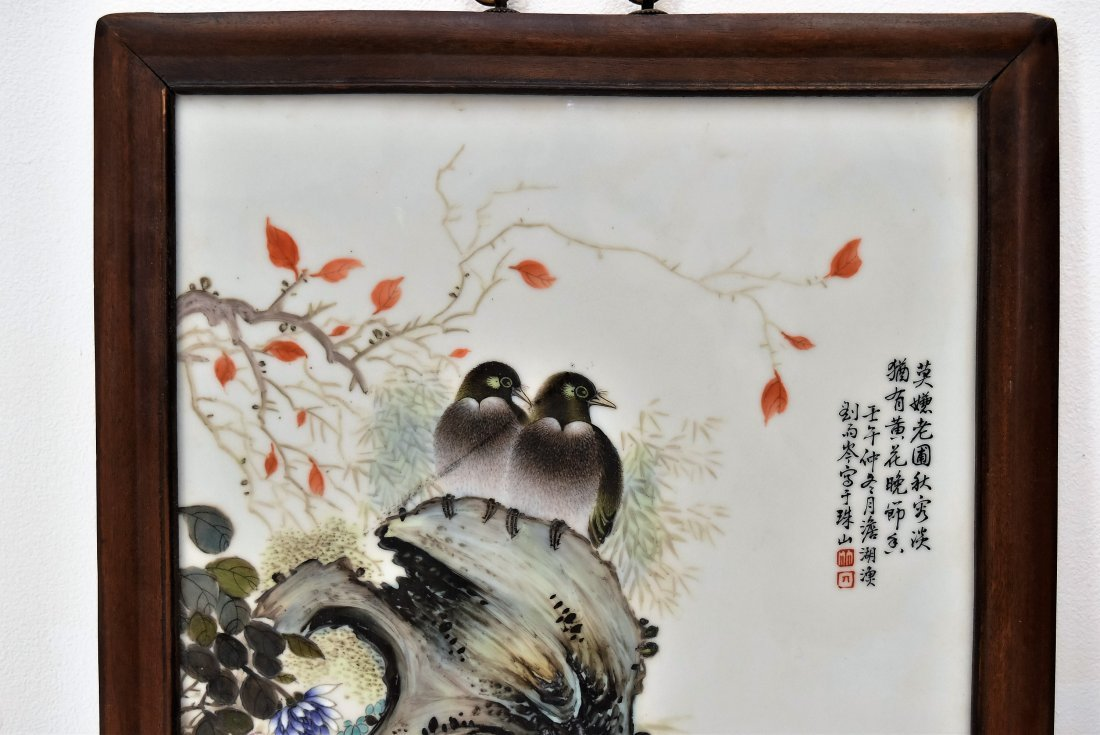 TWO FRAMED CHINESE PORCELAIN PAINTINGS OF BIRDS - 2