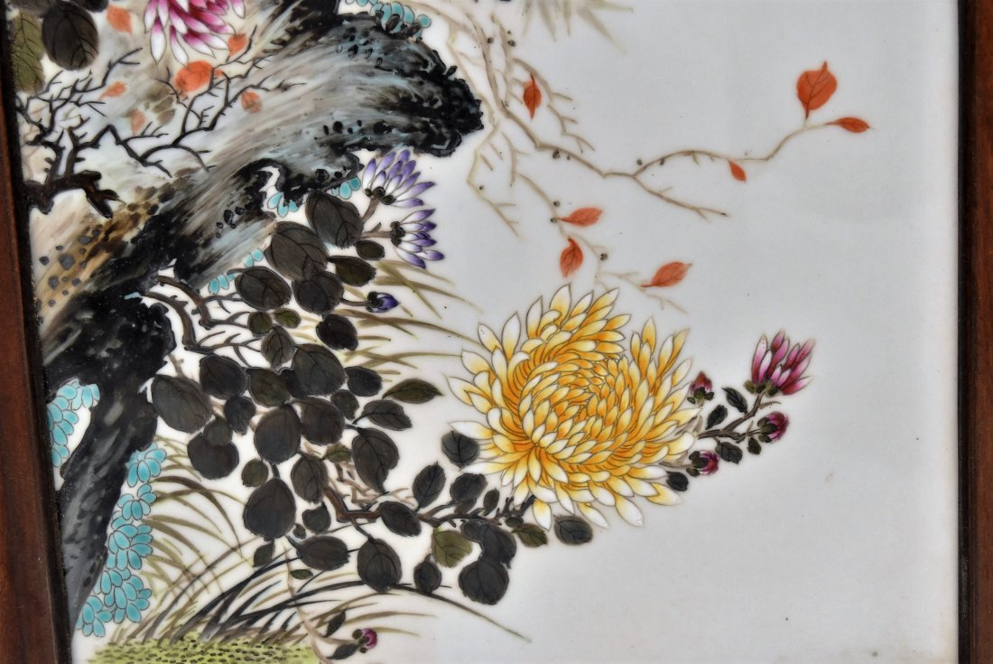 TWO FRAMED CHINESE PORCELAIN PAINTINGS OF BIRDS - 3