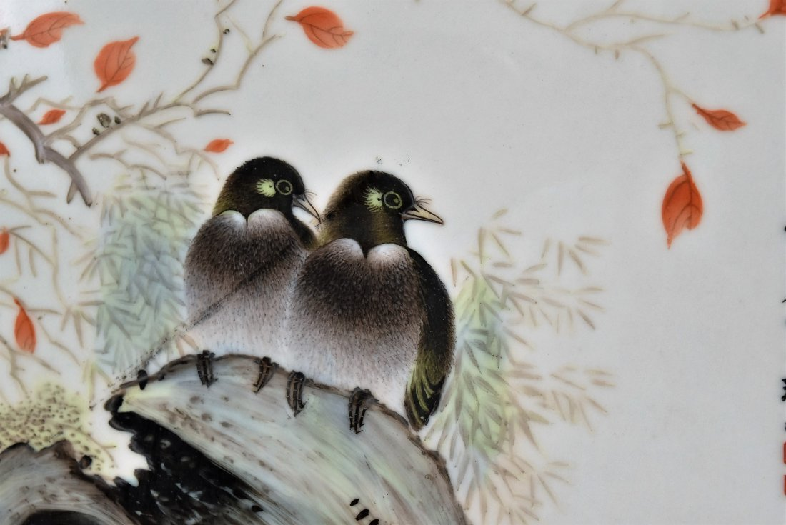 TWO FRAMED CHINESE PORCELAIN PAINTINGS OF BIRDS - 6