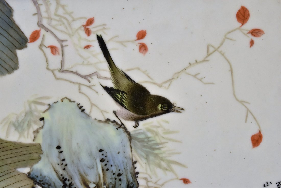 TWO FRAMED CHINESE PORCELAIN PAINTINGS OF BIRDS - 7