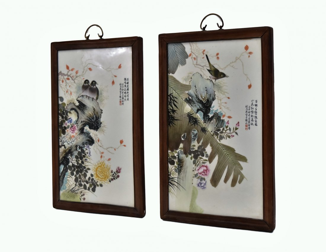 TWO FRAMED CHINESE PORCELAIN PAINTINGS OF BIRDS - 8