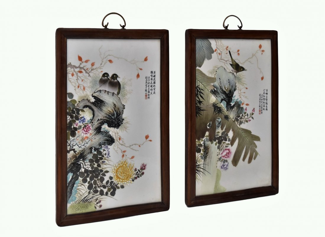 TWO FRAMED CHINESE PORCELAIN PAINTINGS OF BIRDS - 9