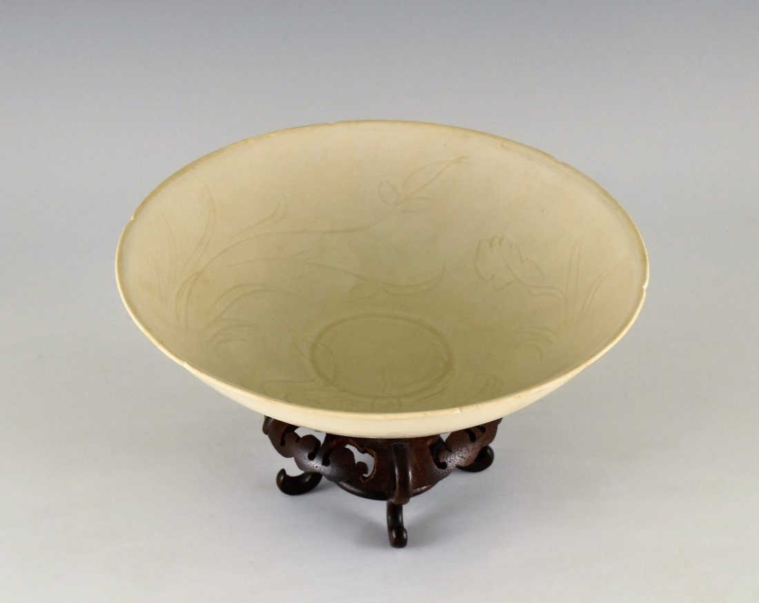 GEESE MOTIF DING WARE BOWL ON STAND - 2