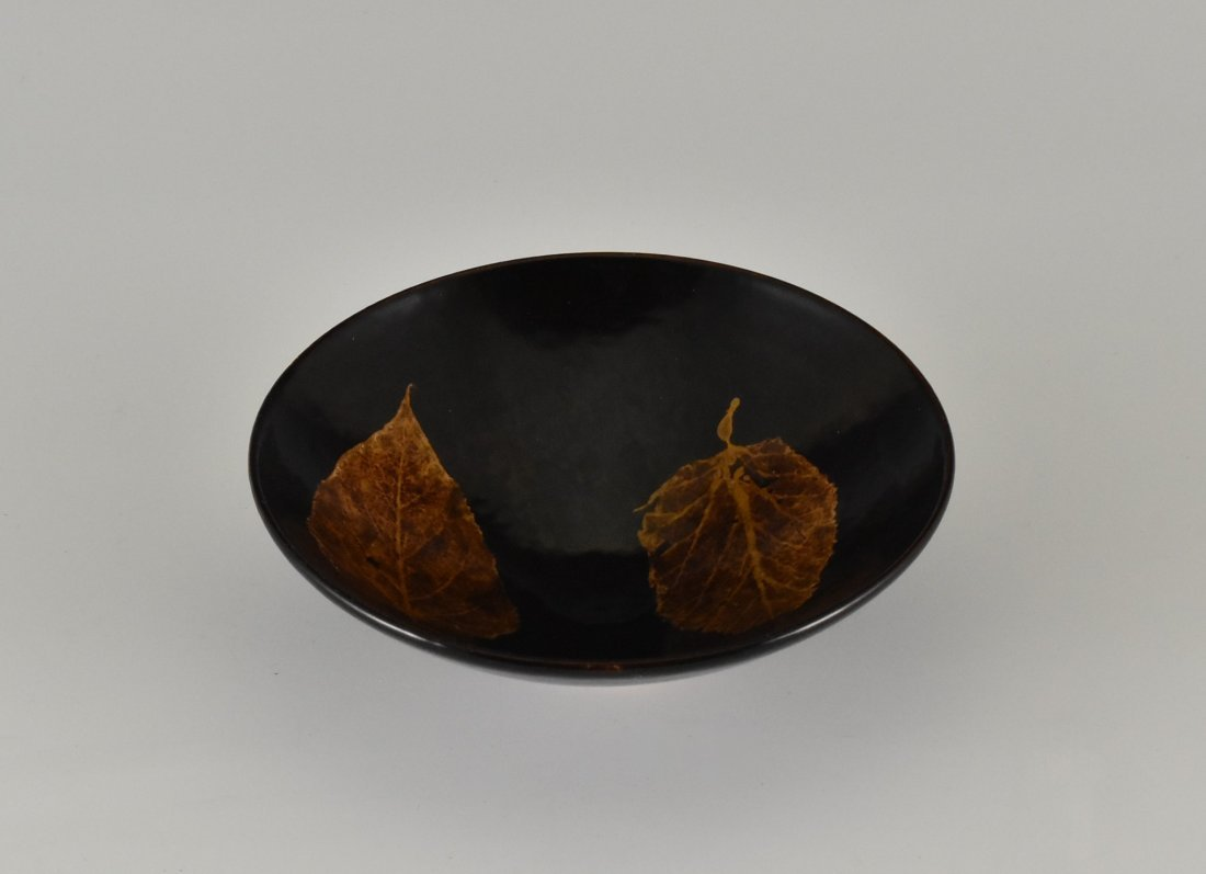 2 PRE-ROTTED LEAF JIZHOU WARE TEA BOWL - 2