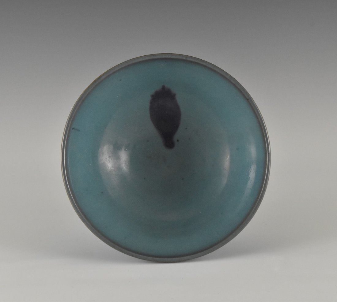 A TURQUOISE GLAZED JUN WARE TEA BOWL - 2