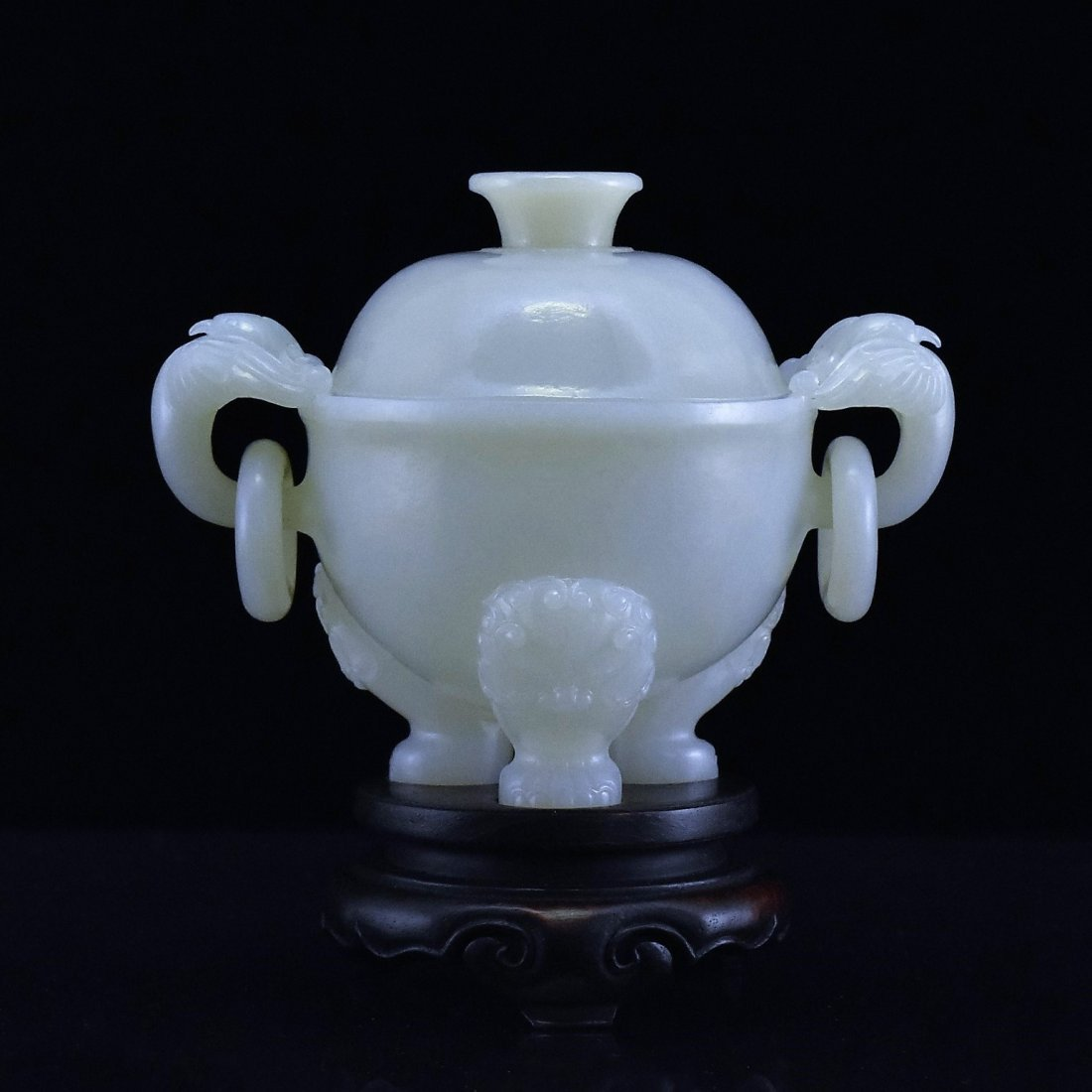 JADE LIDDED TRIPOD CENSER ON STAND