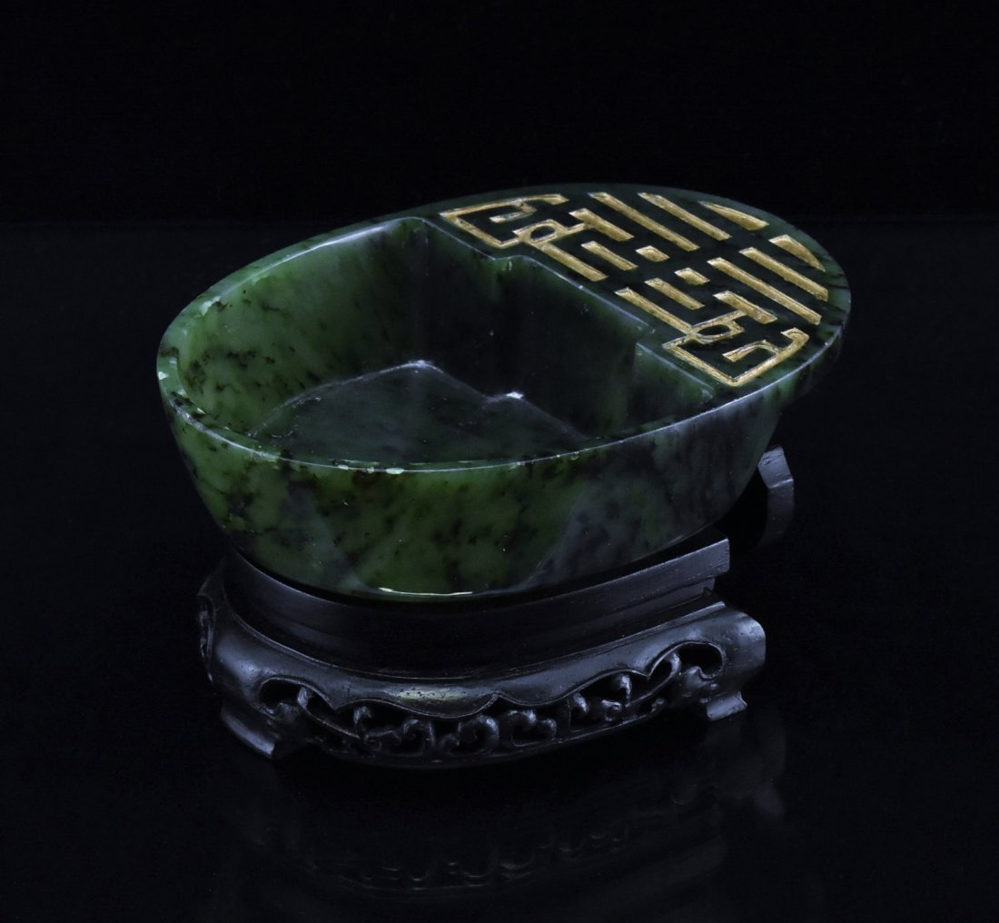 SPINACH GREEN JADE BRUSH WASHER ON WOODEN BASE