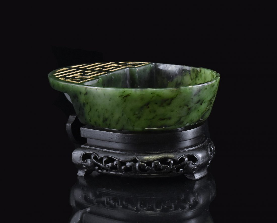 SPINACH GREEN JADE BRUSH WASHER ON WOODEN BASE - 2