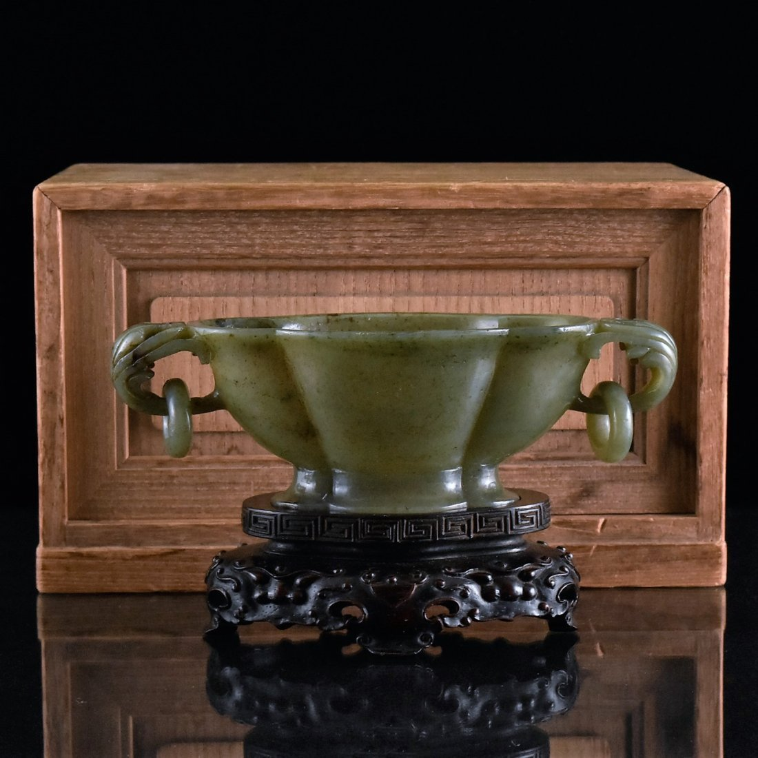 GREEN JADE FLORAL MARRIAGE BOWL W/ WOODEN BOX