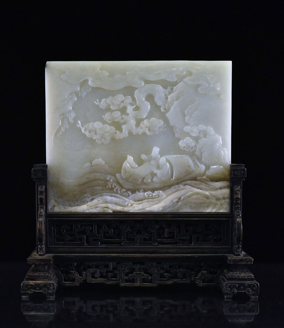 JADE TABLE SCREEN OF THREE SCHOLAR ON BOAT