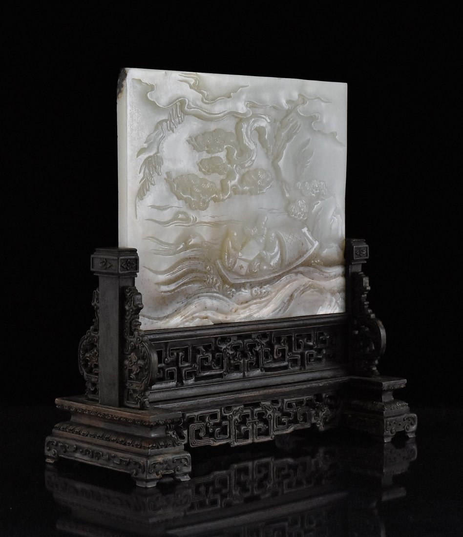 JADE TABLE SCREEN OF THREE SCHOLAR ON BOAT - 2