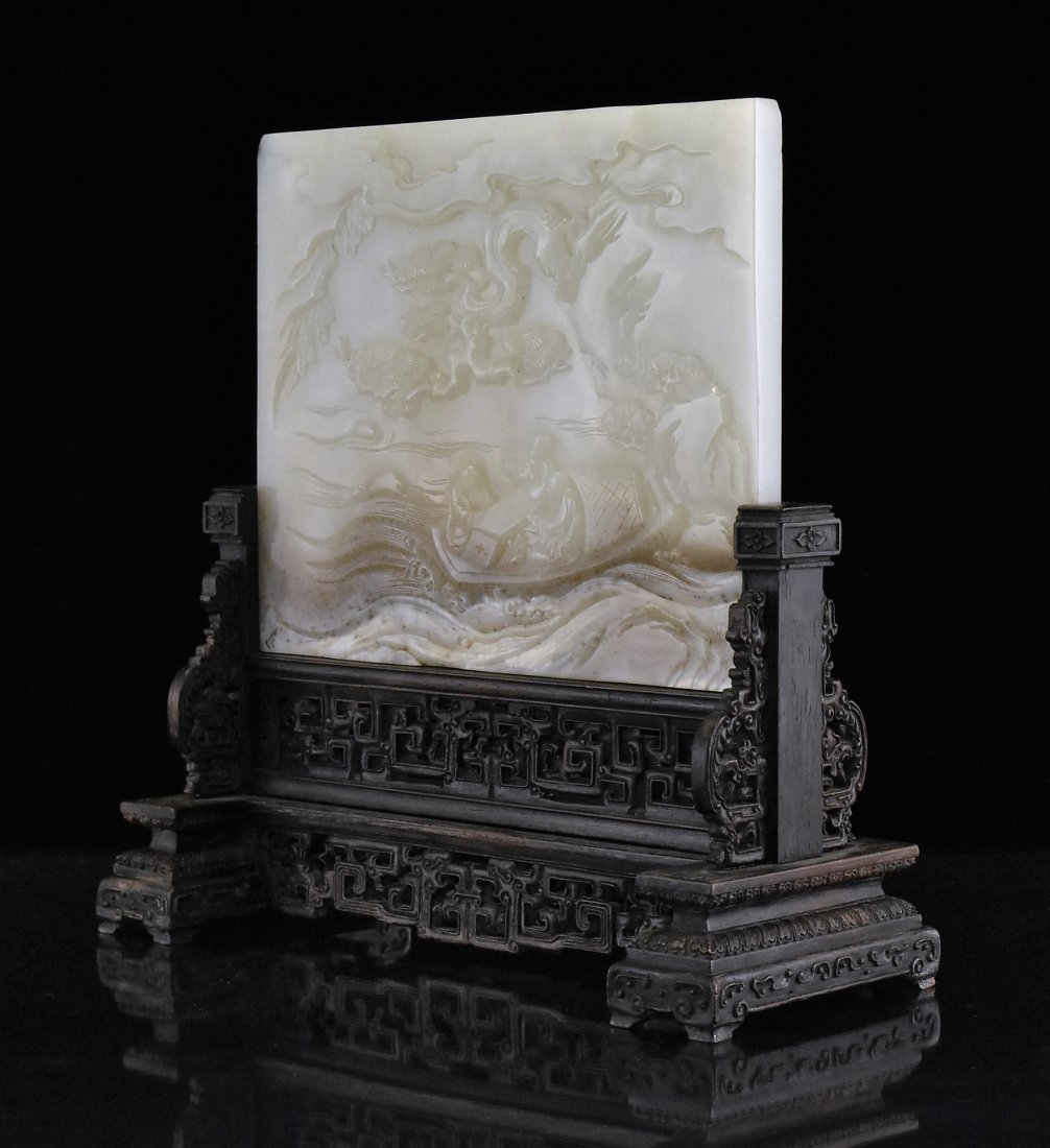JADE TABLE SCREEN OF THREE SCHOLAR ON BOAT - 3
