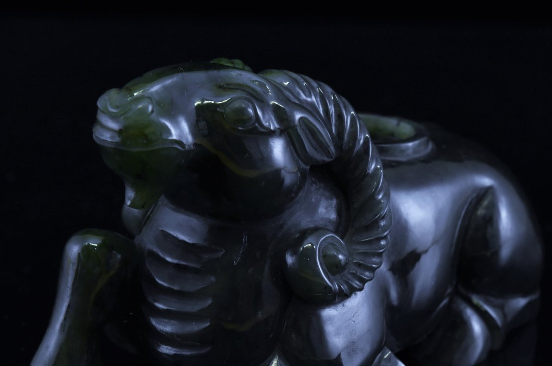 CARVED SPINACH-GREEN JADE COVERED SHEEP URN - 9