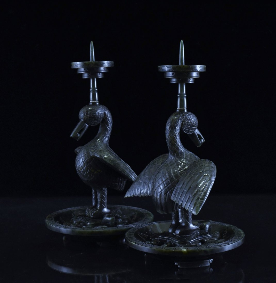 PAIR OF GREEN JADE DUCK CANDLE HOLDERS