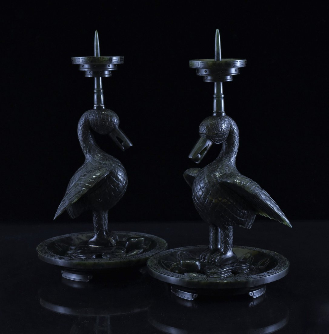 PAIR OF GREEN JADE DUCK CANDLE HOLDERS - 2