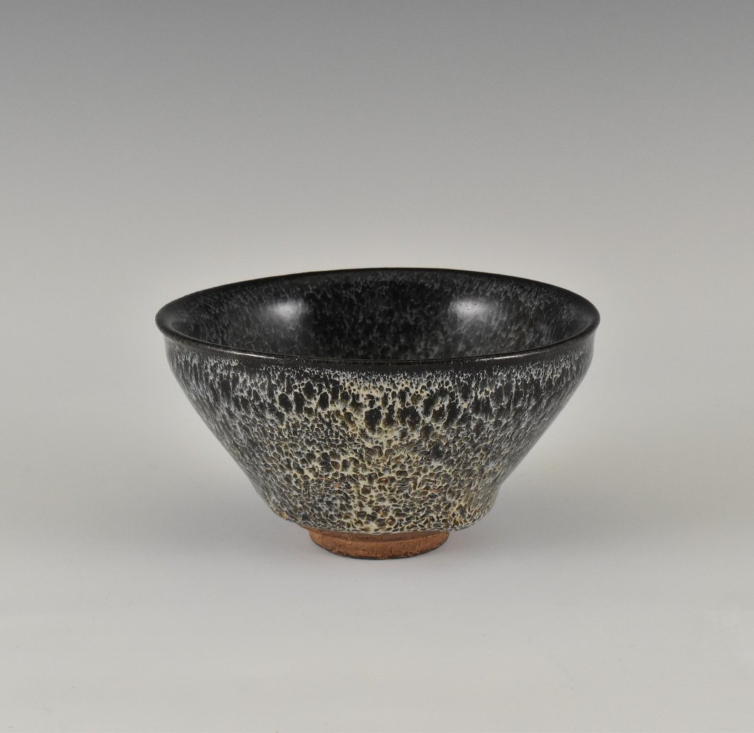 GRAYISH BLUE OIL SPOT JIAN WARE TEA BOWL