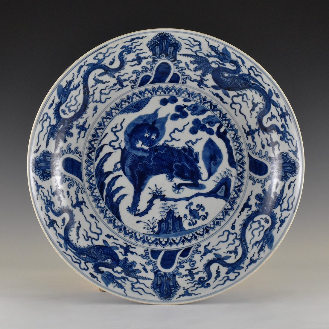 MING BLUE AND WHITE KIRIN PORCELAIN CHARGER