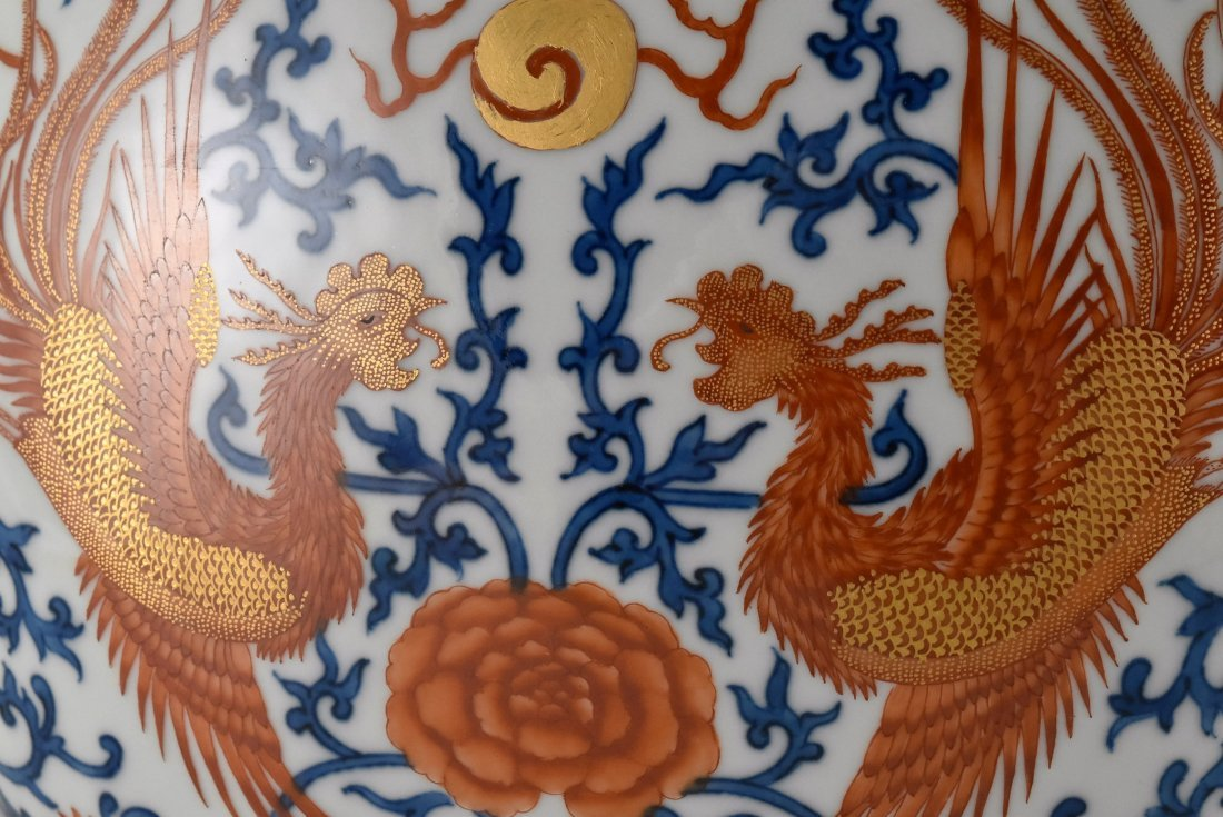 RED & BLUE DOUBLE PHOENIX MOON VASE,BAOYUEPING - 6