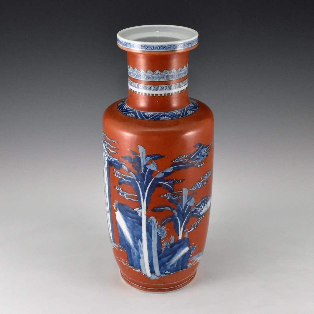 KANGXI BLUE AND WHITE IN RED GROUND ROULEAU VASE - 2