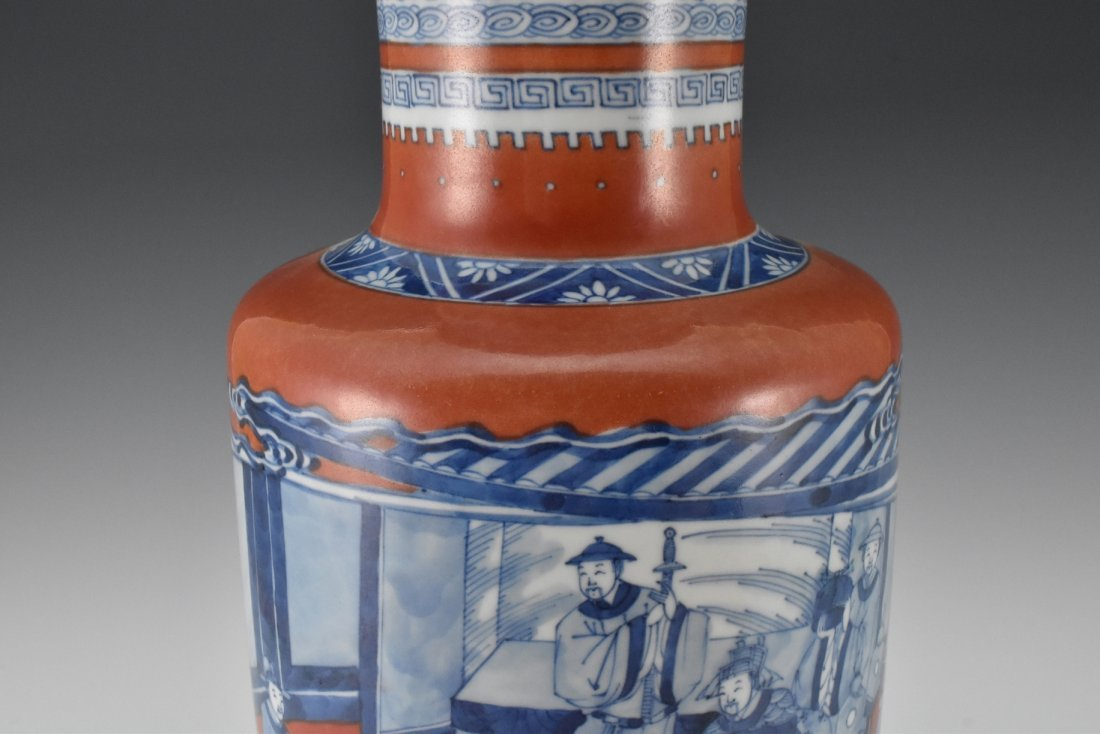 KANGXI BLUE AND WHITE IN RED GROUND ROULEAU VASE - 4