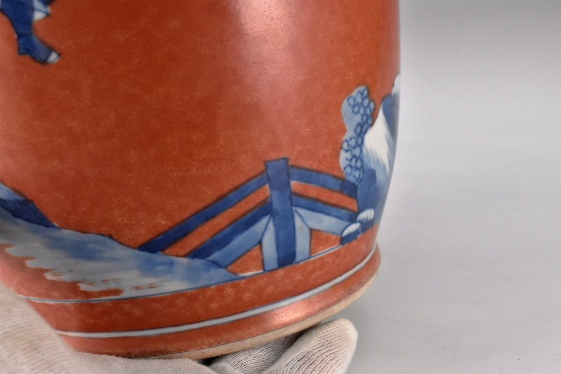 KANGXI BLUE AND WHITE IN RED GROUND ROULEAU VASE - 9
