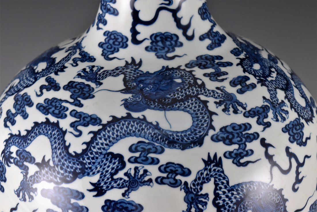 LARGE BLUE AND WHITE DRAGON CELESTIAL VASE ON STAND - 5