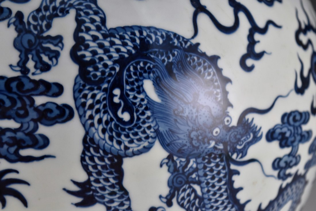 LARGE BLUE AND WHITE DRAGON CELESTIAL VASE ON STAND - 6