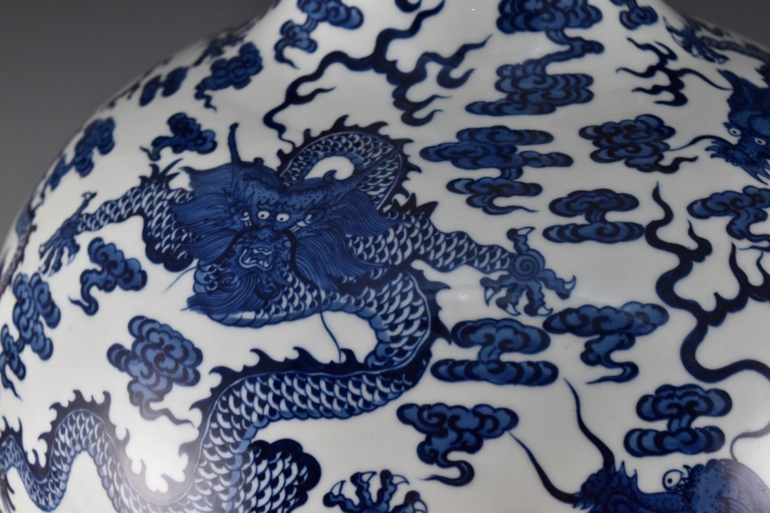 LARGE BLUE AND WHITE DRAGON CELESTIAL VASE ON STAND - 7