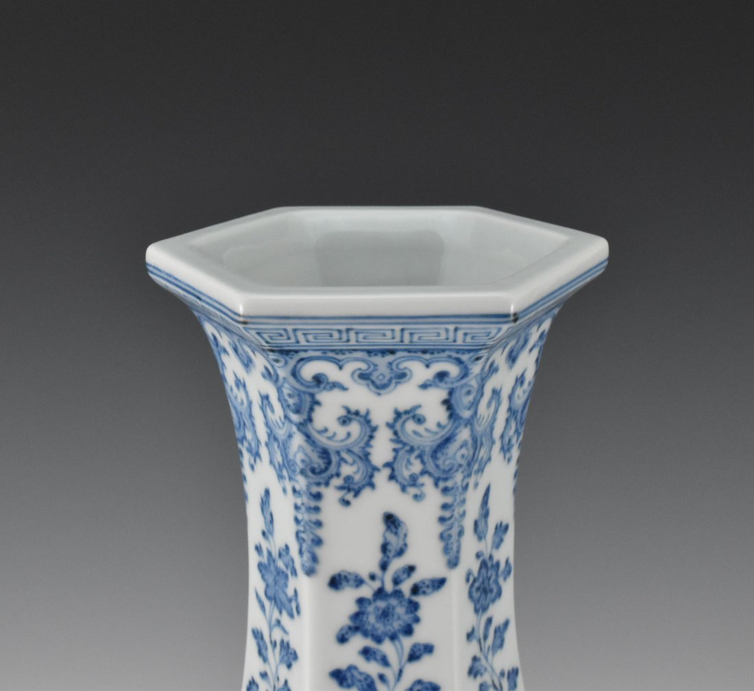 FLORAL AND FRUITS BLUE AND WHITE HEXAGONAL VASE - 3