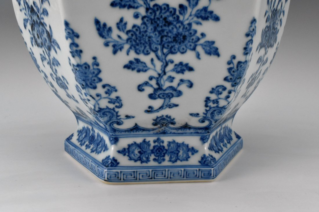 FLORAL AND FRUITS BLUE AND WHITE HEXAGONAL VASE - 6