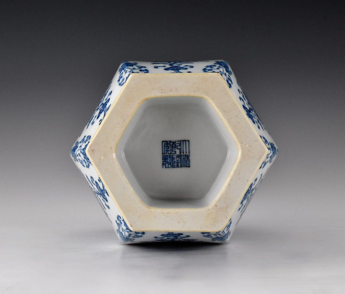 FLORAL AND FRUITS BLUE AND WHITE HEXAGONAL VASE - 7
