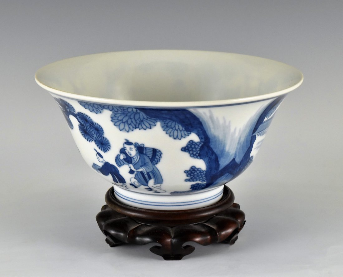 BLUE AND WHITE BOWL ON STAND, KANGXI MARK - 2