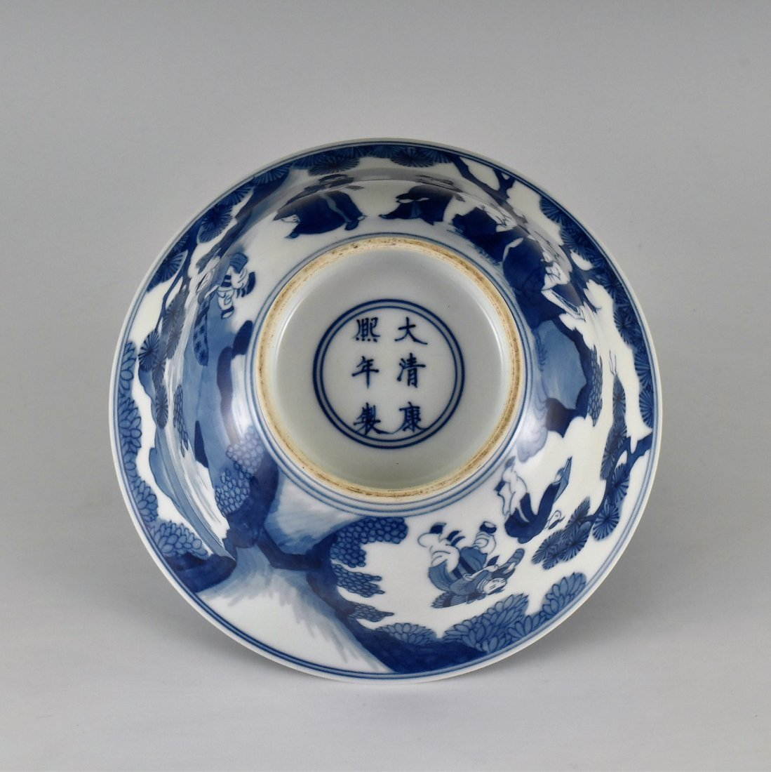 BLUE AND WHITE BOWL ON STAND, KANGXI MARK - 3