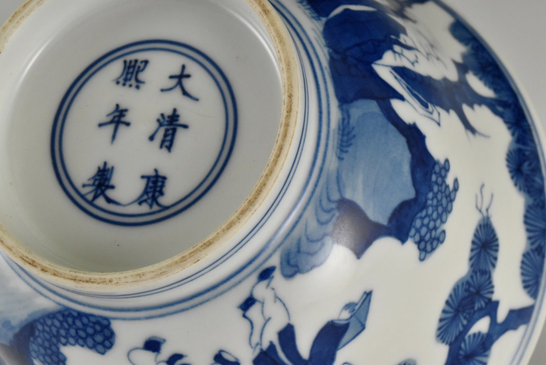 BLUE AND WHITE BOWL ON STAND, KANGXI MARK - 5