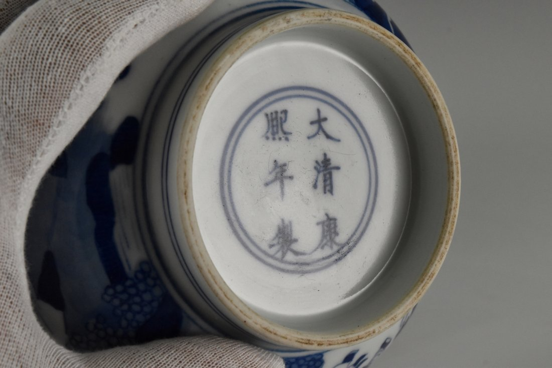 BLUE AND WHITE BOWL ON STAND, KANGXI MARK - 6