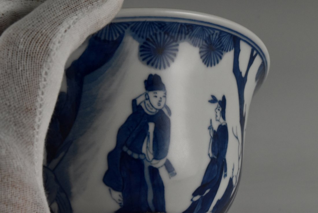 BLUE AND WHITE BOWL ON STAND, KANGXI MARK - 7