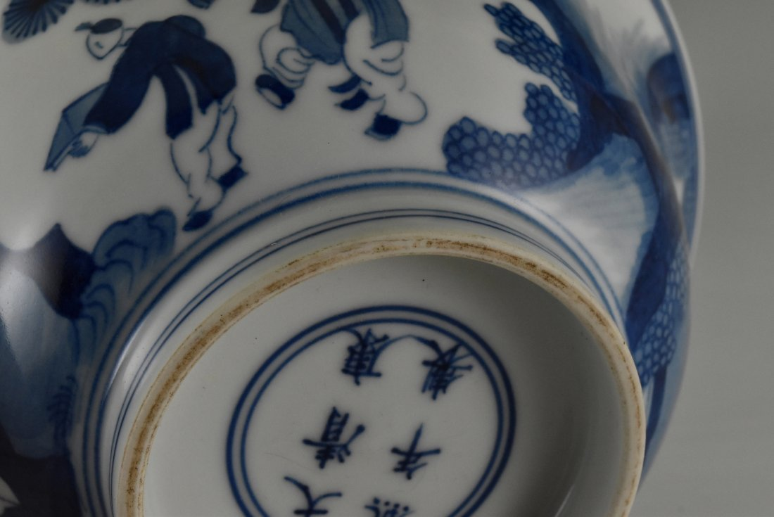 BLUE AND WHITE BOWL ON STAND, KANGXI MARK - 9
