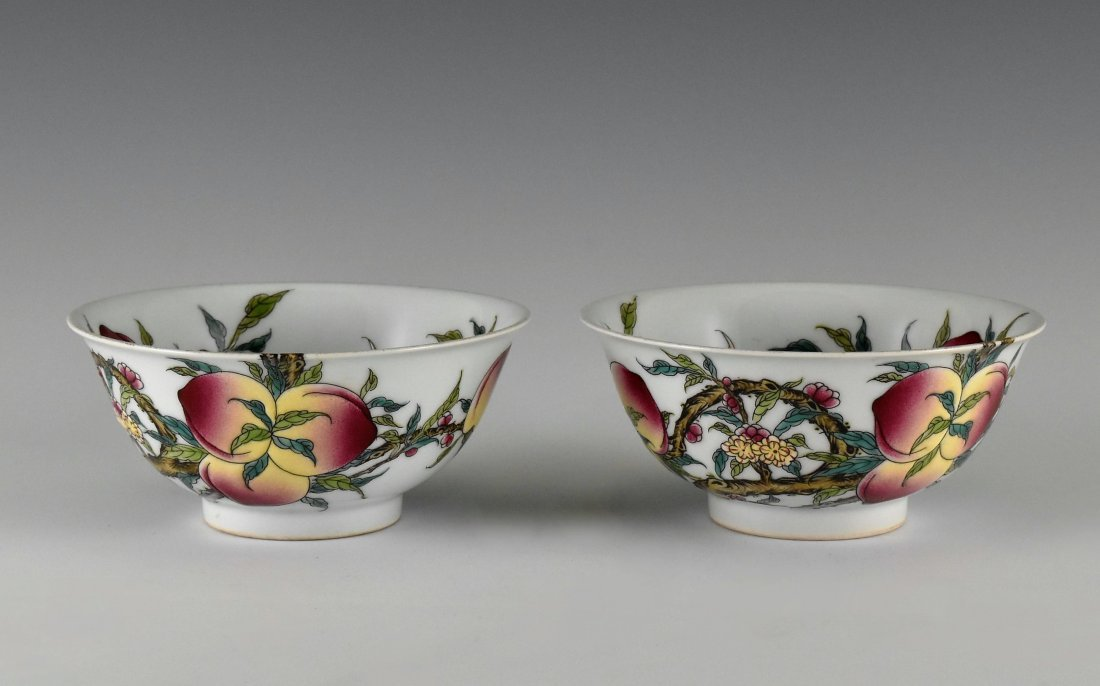 PAIR OF FAMILLE ROSE PEACH BOWLS,  YONGZHENG MARK